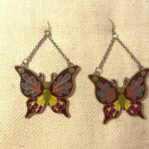 Enamel Butterfly Dangle Earrings